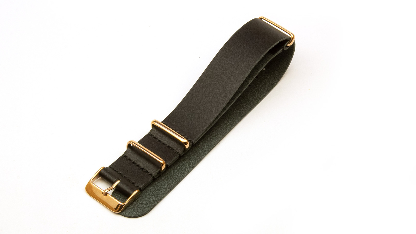 Black Leather NATO strap with rose gold buckles