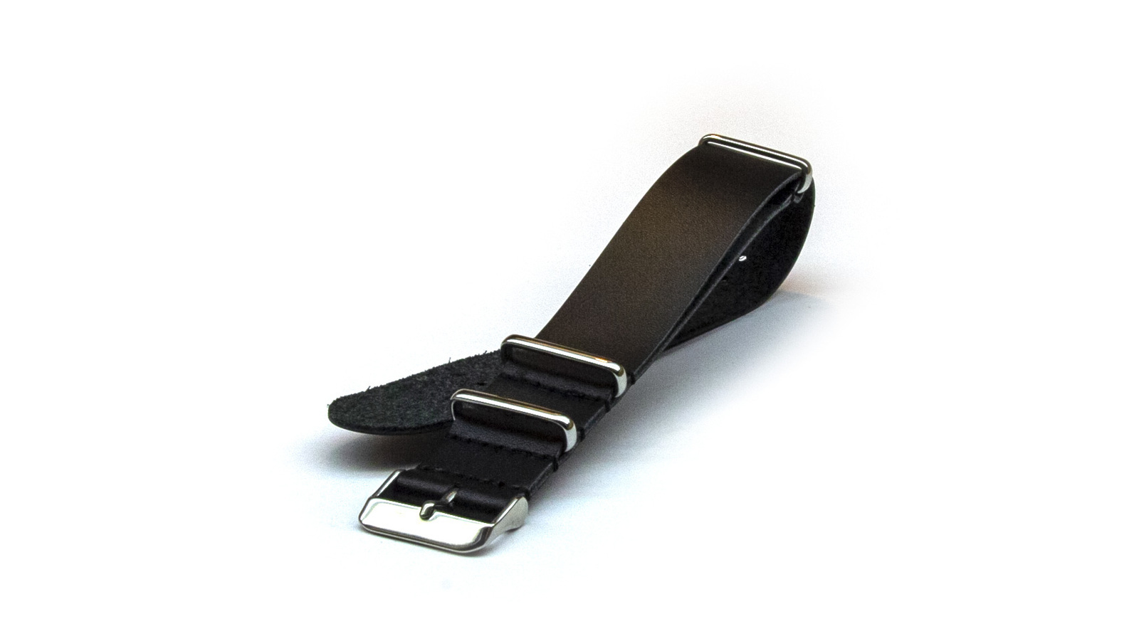 22mm Black Leather NATO Strap