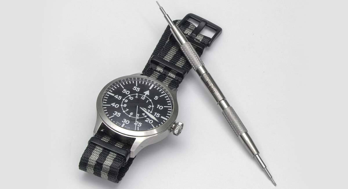 James Bond Seatbelt NATO strap with black PVD buckles