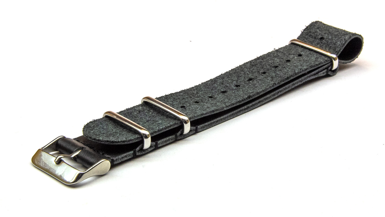 20mm Black Leather NATO Strap