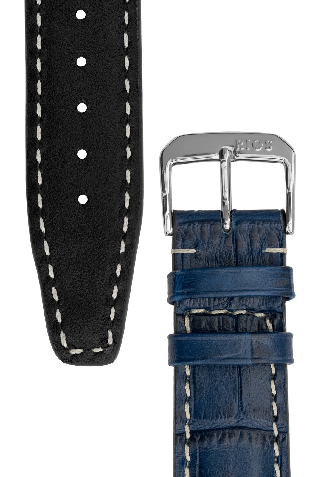 22mm Rios1931 BOSTON Alligator-Embossed Leather Watch Strap in NAVY BLUE