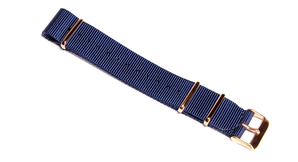 20mm Navy watch strap (with rose gold buckles)