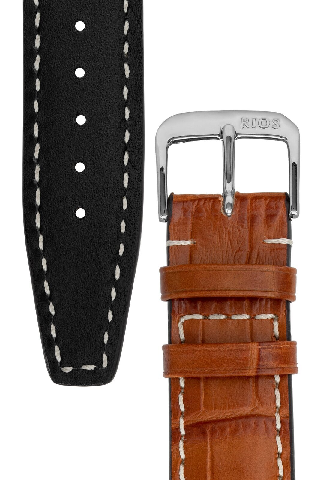 18mm Rios1931 BOSTON Alligator-Embossed Leather Watch Strap in COGNAC