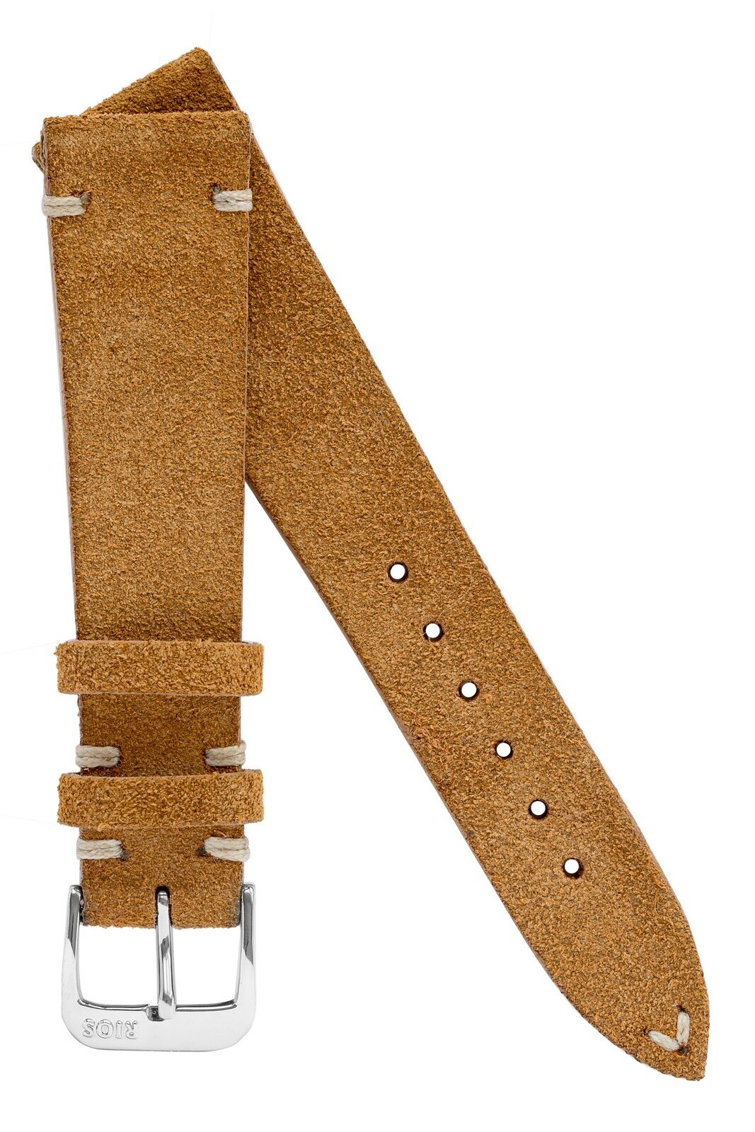 18mm Rios1931 HUDSON Genuine Suede Leather Watch Strap in COGNAC