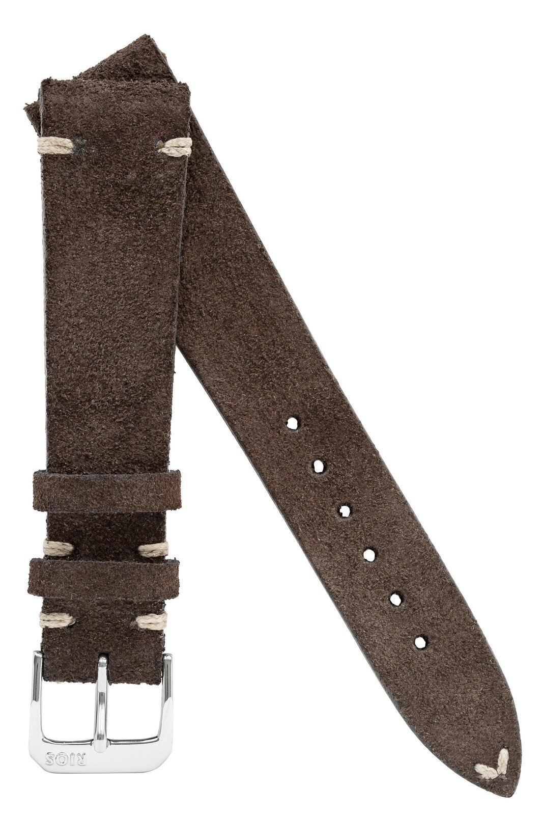 22mm Rios1931 HUDSON Genuine Suede Leather Watch Strap in MOCHA