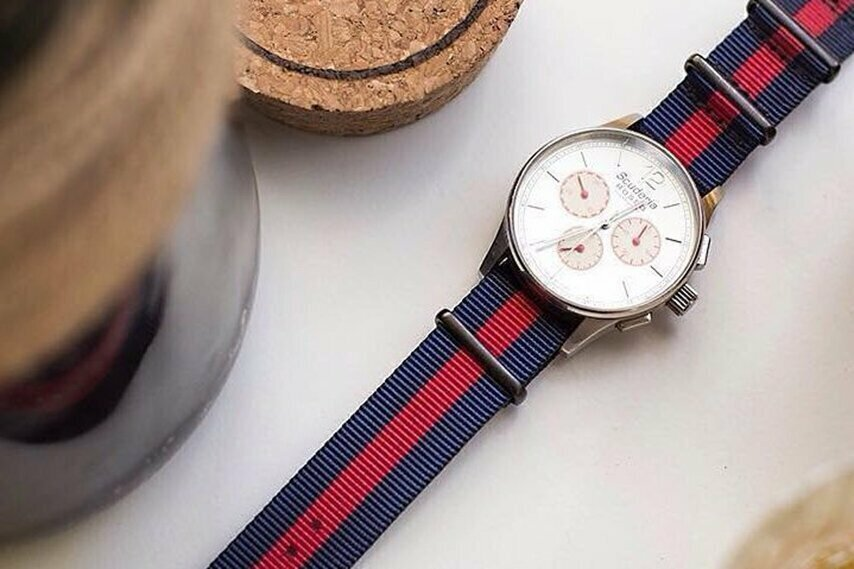 20mm Navy & Red NATO Strap with black buckles