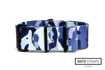 22mm Blue Navy camo NATO strap