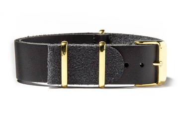 Black Leather NATO strap with gold buckles
