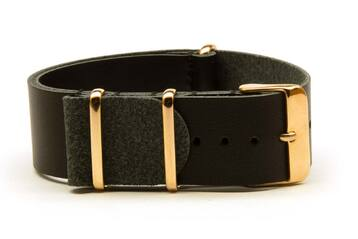 Black Leather watch strap with rose gold buckles