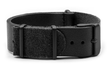 Black leather NATO strap with black PVD buckles