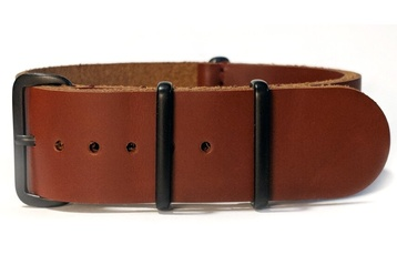 Brown leather NATO strap with black PVD buckles