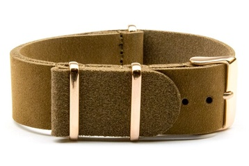 Matte Brown Leather NATO strap with rose gold buckles
