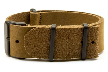 Matte brown leather watch strap with black PVD buc
