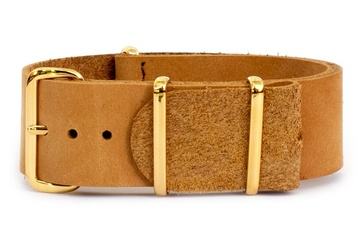 22mm tan leather NATO strap with gold buckles