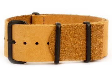 Tan leather NATO strap with black PVD buckles
