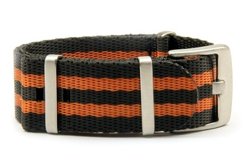 Black and orange seatbelt NATO strap
