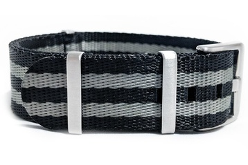 24mm Black and Silver Seatbelt NATO watch strap