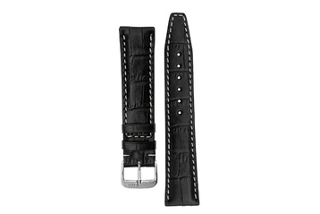 22mm Rios1931 BOSTON Alligator-Embossed Leather Watch Strap in BLACK