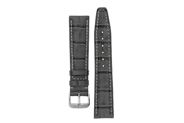 18mm Rios1931 BOSTON Alligator-Embossed Leather Watch Strap in STONE GREY