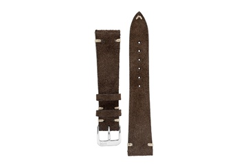 20mm Rios1931 HUDSON Genuine Suede Leather Watch Strap in MOCHA
