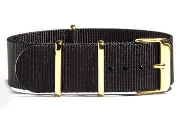 22mm Black NATO strap (with gold buckles)