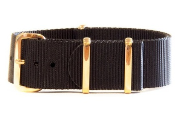 20mm Black NATO Strap with Rose Gold hardware