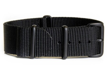 24mm Black NATO Strap - Black PVD buckles