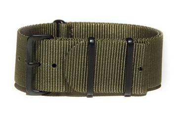 24mm Khaki Green NATO strap - with black PVD buckles