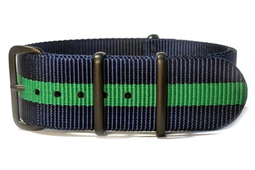 Navy Blue & Green NATO strap with black PVD buckles