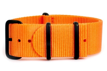 22mm Vibrant orange NATO strap with black PVD buckles