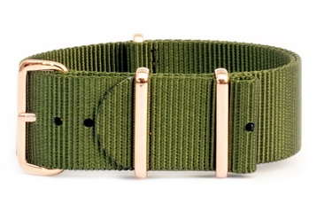 22mm Khaki green watch strap (with rose gold buckles)