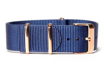 Navy watch strap (with rose gold buckles)