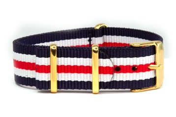 18mm Navy, White and Red NATO strap with gold buckles
