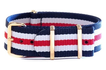 Navy, White and Red NATO strap with rose gold buckles