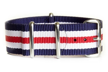 24mm Navy, White and Red NATO strap