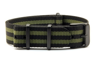 24mm Black & Green NATO strap with black PVD buckles
