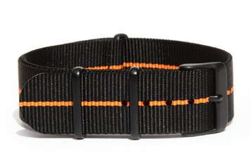 Charcoal Black & Orange NATO strap with black PVD buckles