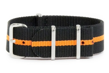 Charcoal Black & Orange watch strap