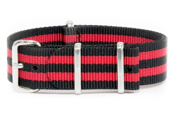 20mm Black and Red Striped NATO Strap