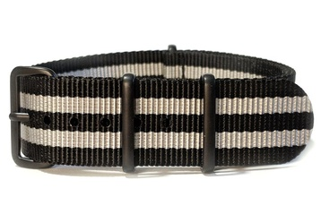 22mm James Bond NATO strap - black PVD buckles