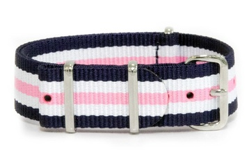 18mm Blue, White and Pink NATO strap