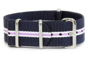Blue, white and purple NATO strap