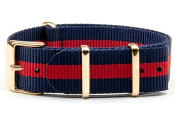 18mm Blue and red NATO strap with rose gold buckles