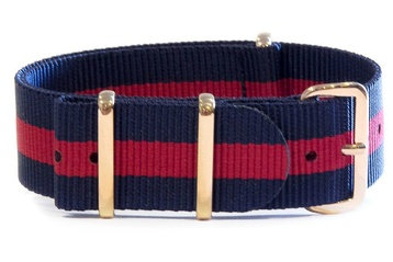 Navy & Red NATO strap - with rose gold buckle