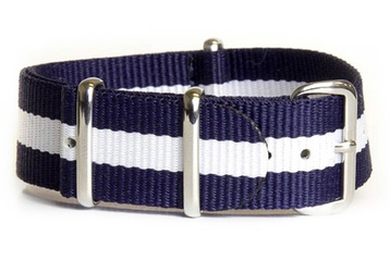 16mm Blue and white NATO strap