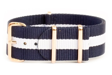 22mm Blue and white NATO strap with rose gold buckles