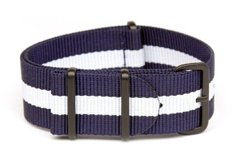 Blue and white NATO strap with black PVD buckles