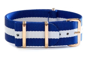 Blue and white NATO strap with rose gold buckles