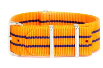 24mm Vibrant orange NATO strap with blue stripes