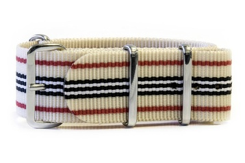 Beige NATO strap with Red, Black & White stripes
